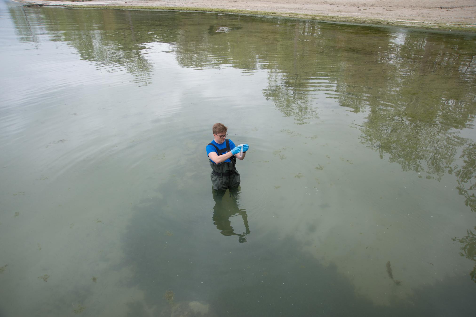 Swim Drink Fish staff monitoring in Fort Erie on Lake Erie. Image Credit: Swim Drink Fish.