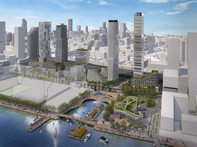 An artistic rendering of one possible vision of what the fully developed Quayside could look like. Rendering by Standard Practice. (CNW Group/Waterfront Toronto).